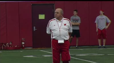 Barry Alvarez runs practice for UW football team